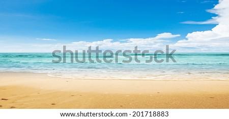 Tropical beach. Panoramic summer shot - stock photo