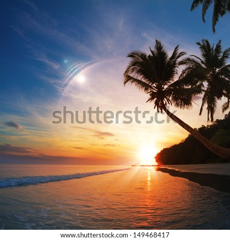 Tropical beach paradise with palm trees at sunset time and reflections on water surface - stock photo