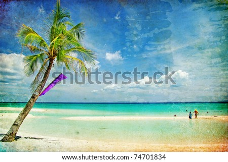 tropical beach -retro styled picture - stock photo