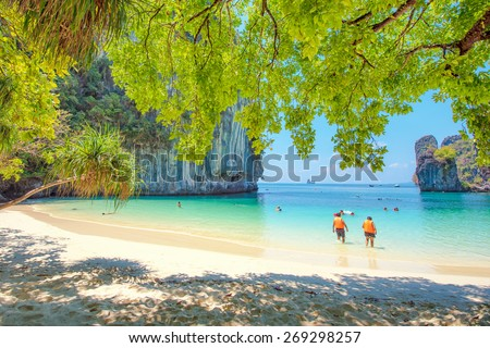Tropical beach scenery, Andaman sea, View of koh hong island krabi,Thailand - stock photo