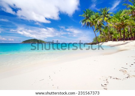 Tropical beach scenery in Thailand - stock photo
