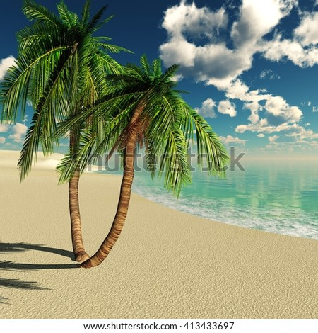 tropical beach, sea beach with palm trees, coconut palms on the beach, 3D rendering - stock photo