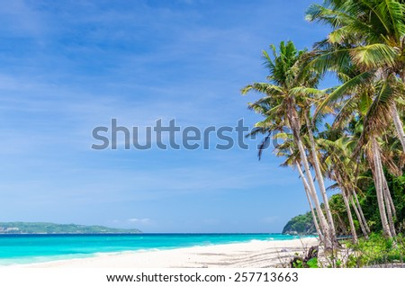 Tropical beach view and palm trees against background of turquoise sea and blue sky at exotic white sandy Puka beach on Boracay island, Philippines - stock photo