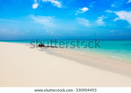 Tropical beach with clouds, Thailand - stock photo