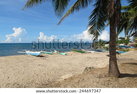 Tropical beach with sand, coconut palm tree  and traditional outrigger canoes at Santa Fe on Bantayan Island in the Philippines.   - stock photo