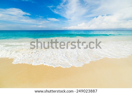 tropical beach with turquoise water - stock photo