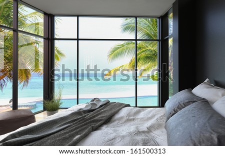 Tropical bedroom interior with double bed and seascape view - stock photo