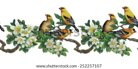 Tropical birds with on blooming tree colorful seamless pattern on white background - stock photo