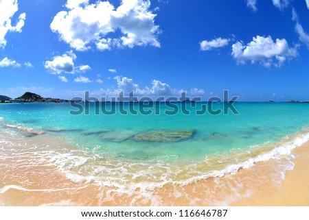 Tropical Caribbean Beach on a Sunny Summer Day - stock photo