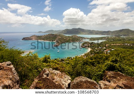 Tropical Caribbean Landscape of English Harbour and Nelson's Dockyard in Antigua - stock photo