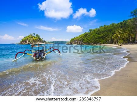 Tropical coastline of Nusa Penida island. Bali. Indonesia. - stock photo
