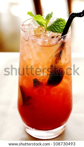 Tropical cocktail in glass . - stock photo