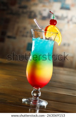 Tropical cocktail in glass - stock photo