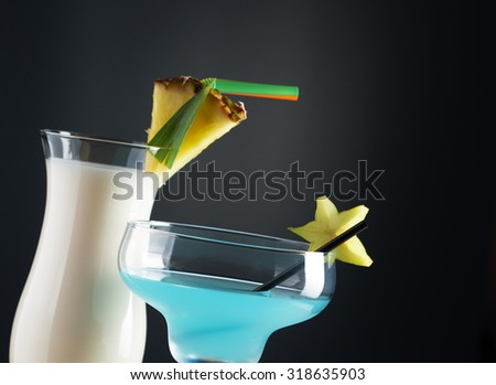 Tropical cocktails - stock photo