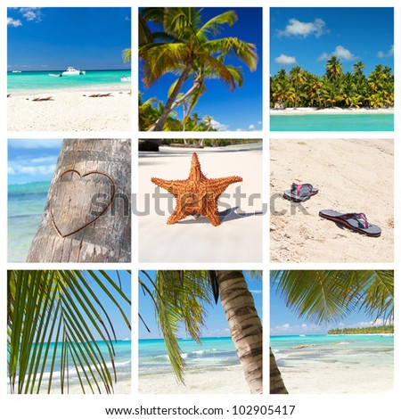 Tropical collage with caribbean landscape - stock photo