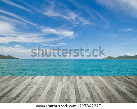 tropical day and wooden floor of dirty chic - stock photo