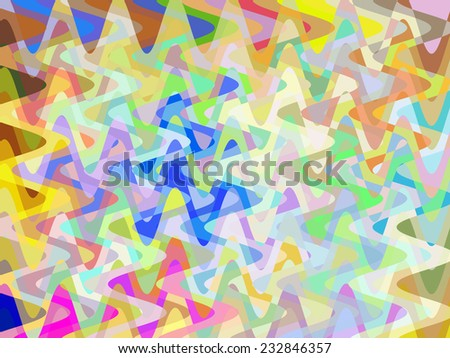 Tropical energy: Multicolored abstract of lively overlapping sine waves in pastel tones with effect of buoyant multiplicity - stock photo