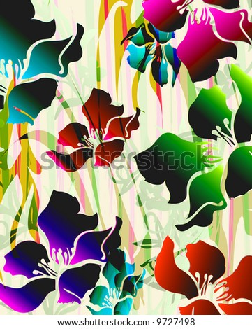 tropical exotic florals with zebra background details - stock photo