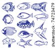 Tropical Fish Set. Raster version. Vector version is in my gallery. - stock photo