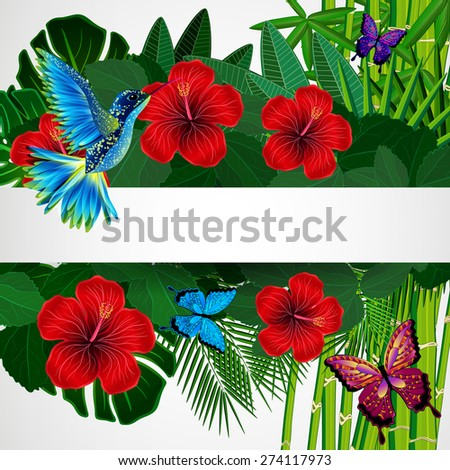 Tropical floral design background with bird, butterflies. - stock photo