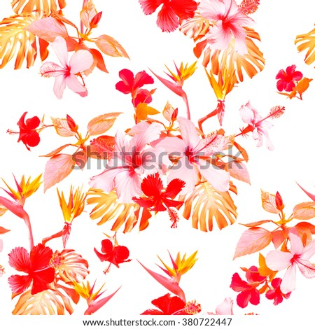 Tropical floral prints on a white background. CLIP ART - photo collage. Red realistic tropical flowers seamless pattern. - stock photo