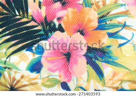Tropical floral seamless pattern with plumeria and hibiscus flowers - stock photo