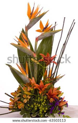 tropical flower bouquet - stock photo