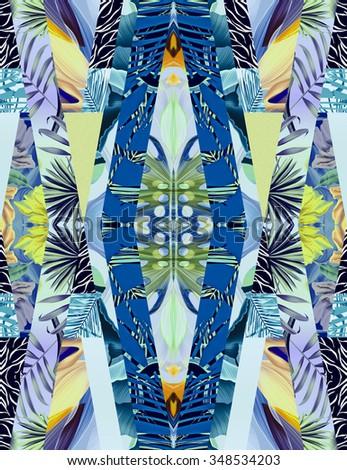 Tropical flower geometry, botanical symmetry background, plant pattern colorful background. Hawaiian, californian, florida summer style. - stock photo