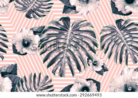 Tropical flowers and jungle leaves, hibiscus. Beautiful seamless floral exotic pattern background - stock photo