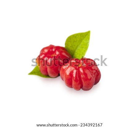 Tropical fruit also called Suriname Cherry, Cayenne Cherry, Pitanga or Brazilian Cherry isolated on white - stock photo