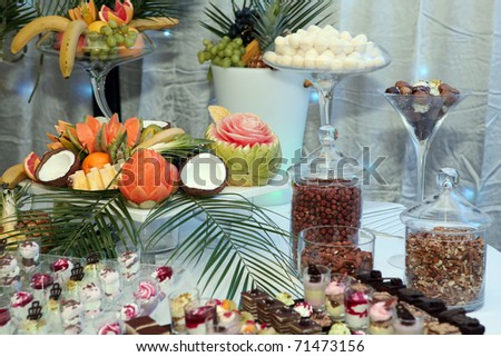 Tropical fruit served on a banquet - stock photo