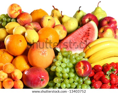Tropical fruits background - stock photo