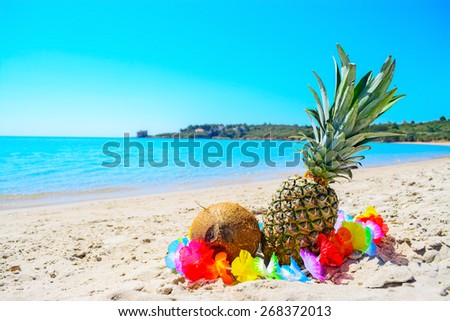 tropical fruits by the sea on a clear summer day - stock photo