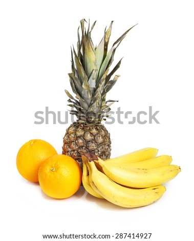 Tropical fruits isolated - stock photo