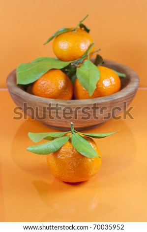 Tropical fruits on orange background. - stock photo