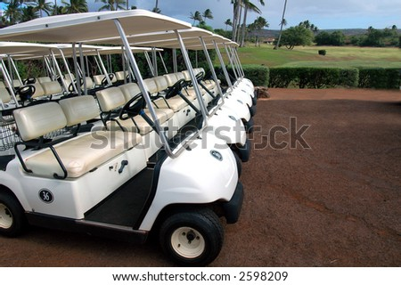 Tropical Golf Carts 3 - stock photo