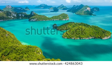 Tropical group of islands in Ang Thong National Marine Park, Thailand. Top view - stock photo