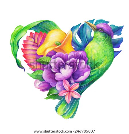 tropical heart with exotic bird and flowers, unusual Valentines day greeting card, watercolor illustration - stock photo