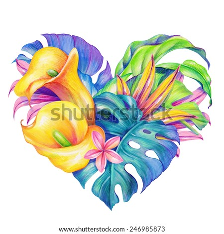 tropical heart with exotic flowers and leaves, beautiful Valentines day greeting card, watercolor illustration - stock photo