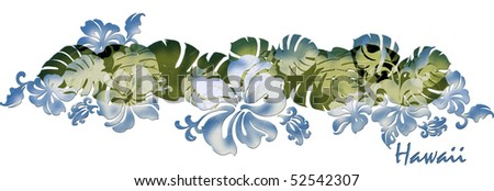 "tropical hibiscus and tea leaf chest band design with ""Hawaii"" logo - stock photo"