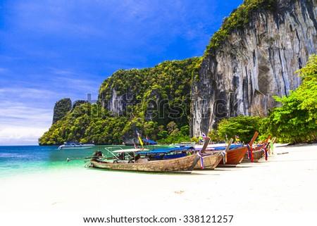 tropical holidays - amazing beaches of Thailnad, Krabi - stock photo