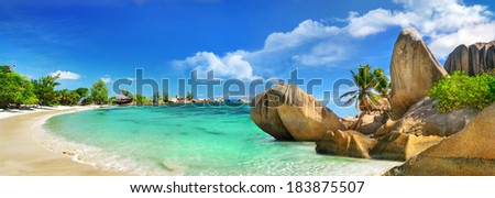 tropical holidays in paradise of Seychelles islands - stock photo