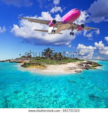 Tropical holidays on the sunny beach - stock photo