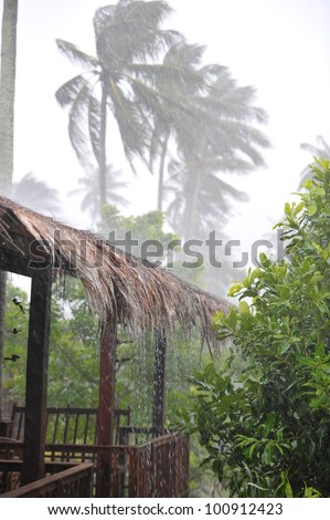 tropical hurricane ,bamboo house - stock photo