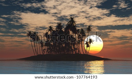 Tropical Island at Sunset - stock photo
