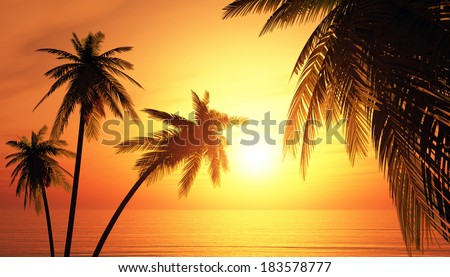 tropical island background 1 - stock photo