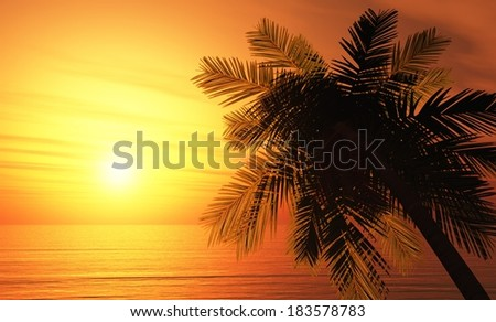 tropical island background 2 - stock photo
