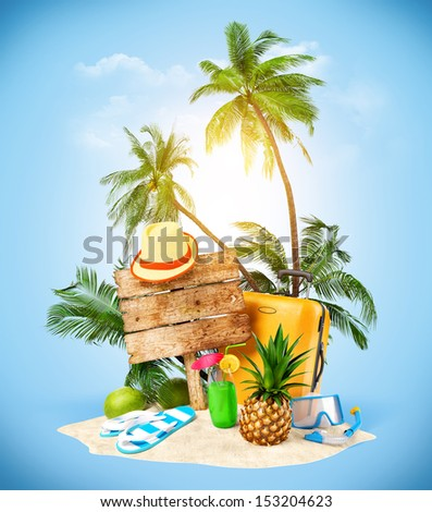 Tropical island. Creative collage. Traveling  - stock photo