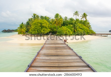 Tropical island in Maldives - stock photo