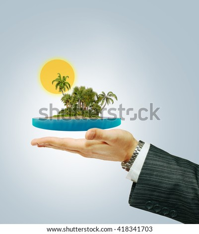 Tropical island on the hand. Holiday concept ( 3D illustration) - stock photo